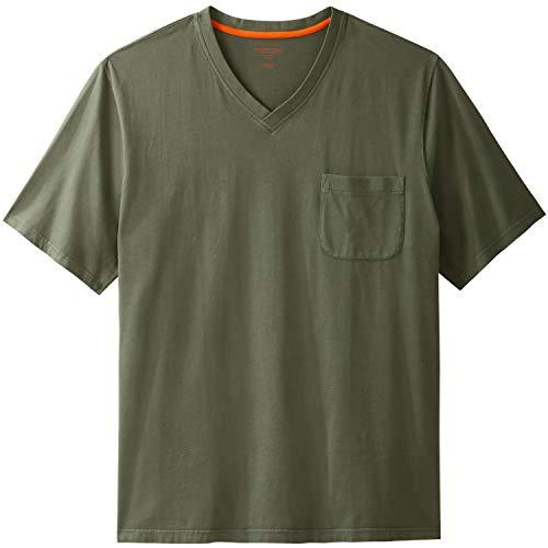 Boulder Creek Men's Big & Tall Heavyweight Pocket V-Neck Tee, Olive Pigment Tall-2XL (Heavyweight V-neck T-shirt)