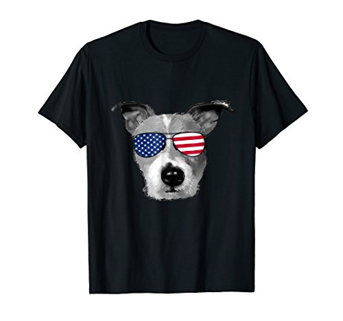 Patriotic Jack Russell Terrier Dog Merica T-Shirt 4th of jul