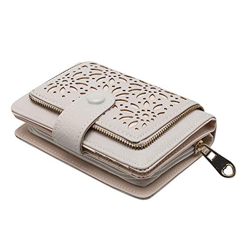- GLITZALL Faux Leather Vintage Hollow Bifold Wallet Women Short Credit Card Holder (Beige)
