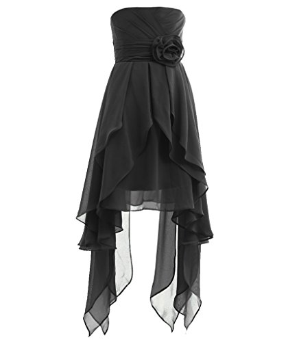 Black Fairy Dress (Fairy Couple Girl's Strapless High Low Junior Bridesmaid Dress K0121 4 Black)