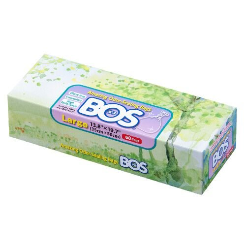 Price comparison product image BOS Amazing Odor Sealing Disposable Bags for Diapers,  Pet Waste or Any Sanitary Product Disposal -Durable and Unscented (60 Bags) [Size: L,  Color: White]