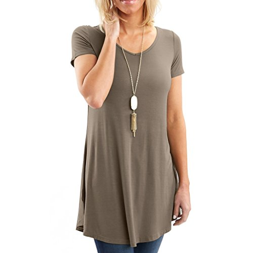 Posh Women's Short Sleeve V-Neck Tunic with Flare Style Hem - Super Soft Loose Fit T-Shirt Tunic Top, Perfect Casual Blouse for Leggings & Jeans- X-Large - Beige