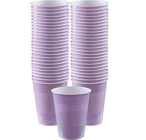 Amscan Durable Big Party Pack Plastic Cups, Party Supplies, Lavender, 16oz., 50ct]()