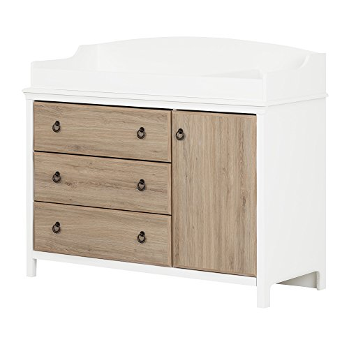 - South Shore Catimini Long Changing Table with Removable Changing Station with Drawers and Door, Pure White & Rustic Oak