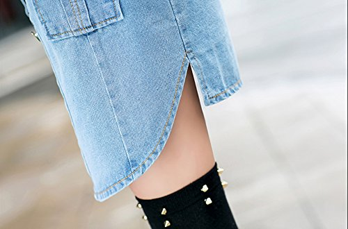 Tanming Women's Casual Lapel Slim Long Sleeve Denim Outercoat Jacket Windbreaker (Medium, Blue) by Tanming (Image #6)