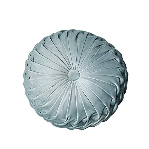 YunNasi Round Pleated Pillow Filled Decorative Cushion Chair Throw Pillow Home for Home Sofa Bed Car Decor (Light Blue)