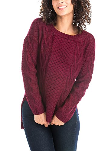 Luna Flower Women's Cable Knit High Low Hem Details Boat Crew Neck Ribbed Cuffs Pullover Sweaters BURGUNDY S