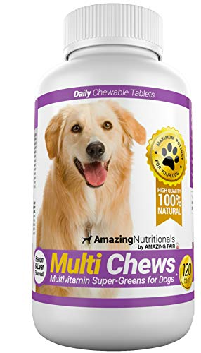 Amazing Multivitamin for Dogs - Healthy Vitamin Treats for Dog Coat, Hair and Skin Itching Relief, Digestive Support Joint Supplements - 120 Chews
