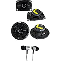 2) Kicker 41DSC464 4x6 + 2) 41DSC654 6.5 240W Car Coaxial Speakers + Earbuds