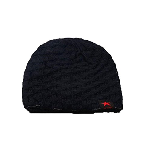 WensLTDWinter Skull Men Knit Beanie Reversible Baggy Wool Cap Warm Unisex Hat (55-60cm/21.7-23.6'', Black)
