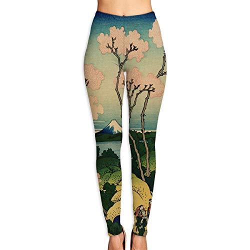 ACBULU Yoga Pants Hokusai Japan Ink Cherry Blossom Mount Fuji Holiday Womens Fitness Power Flex Yoga Pants Leggings