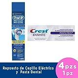 CREST + ORAL-B 4 RespuestosPro-salud Precision Clean Cepillo Eléctrico, 120 ml, Pack of 1