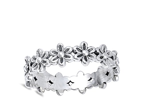 Plumeria Flower Eternity Promise Ring .925 Sterling Silver Daisy Band Size 10 by Sac Silver (Image #1)
