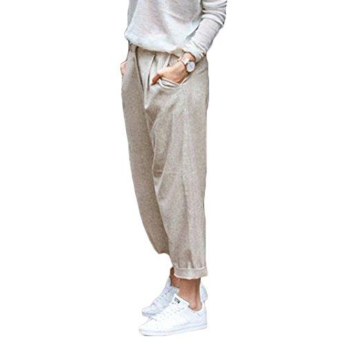 Eleganti Pantalone Lino Casual Cropped Cotone con Donna Elastica Estivo Pants Caviglia Albicocca Della Harem Tasche Lunghezza Vita Traspirante SotRong ZpxYSqq