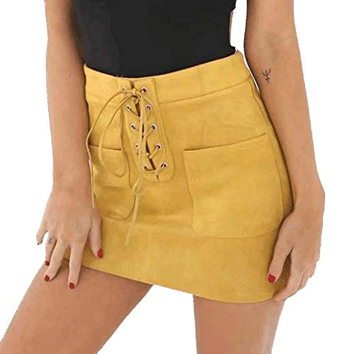 (Colmkley Women's Casual Lace Up High Waist Pockets Bandage Bodycon Mini Skirt Yellow)