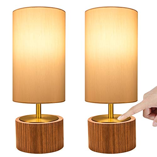 DEEPLITE Touch Control Table Lamp Set of 2, Bedside Lamp Dimmable Touch Light Ambient Night Light with Cylinder Shade, Modern Accent Nightstand Lamp for Bedroom, Living Room, Office, Bulb Included