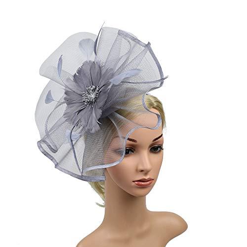 Hattfart Wedding Fascinator Hat Women Feather Flower Hair Band Church Tea Party Headdress from Hattfart Jewelry