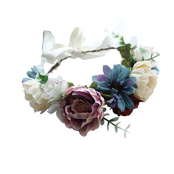 Black Grosgrain – Summer Women Flower Wreath Crown Floral Wedding Party Garland Headband Headpiece – Artificial Dried Flowers Artificial Dried Flowers Door Wreath Flower Garland Star Vine Pri