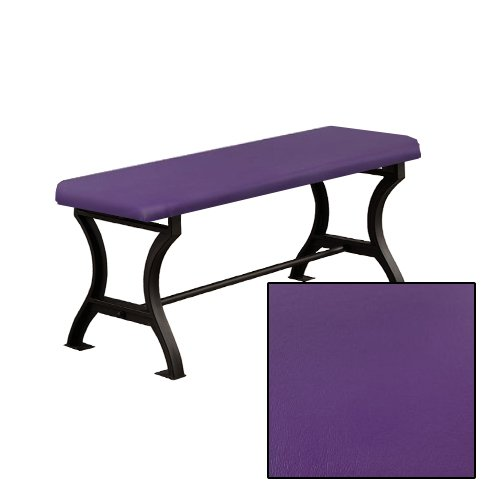"Wood and Metal 18"" Tall Universal Bench with a Padded Seat Cushion Featuring Your Choice of a Colored Vinyl Seat Cushion (Purple) (Banquette Cushions)"