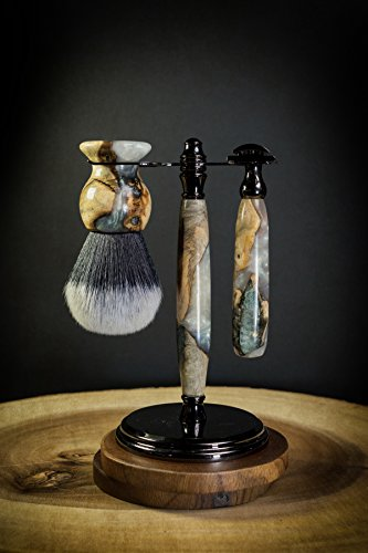 Ernest Hemingway Double-Edge Safety Razor & Brush Shave Set - Collector's Edition w/Certificate of Authenticity & Walnut Box- Only 12 Exist - Made of Burl Wood and Multiple Layers of Mesmerizing Resin by Hemingway Accoutrements