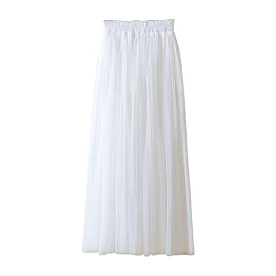 Fahou - Falda Larga de Tul Plisada de Tres Capas para Mujer (80 cm ...
