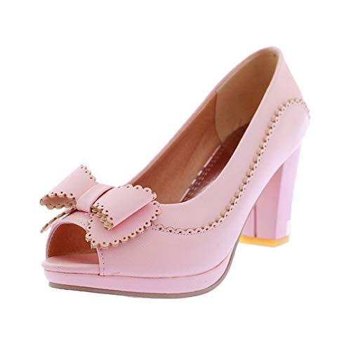 JYDIY Pumps for Women Sweet Peep Toe Butterfly-Knot Decor Platform Shoes Ladies Casual High Heel Pumps Pink