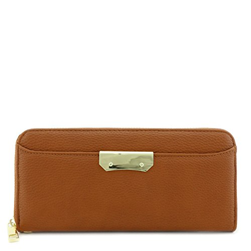 - Zip Around Wristlet Wallet with Gold Plate Accent Brown