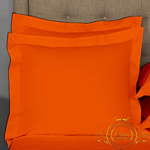 Crown Collection Orange Solid European Square Pillow Shams Set of 2 pc - Hypoallergenic 500-TC 100% Egyptian Cotton Decorative Cushion Cover Euro Pillow Sham (Orange, Big Euro 28'' x 28'') (Euro Sham Orange)