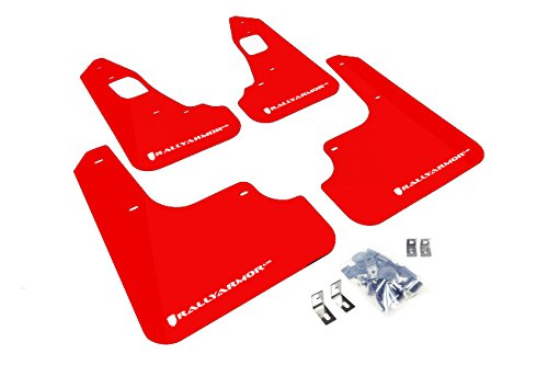 Rally Armor MF10-UR-RD/WH Red, White Mud Flap with Logo (2008+ Mitsubishi EVO X UR)