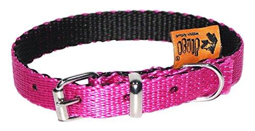 Dingo Dog Collar Handmade Pink with Black Contrast 14594