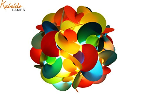 Fully Assembled Puzzle Lamp - IQ Light :Kaleido Lamps Handmade Multi-Colored Flower Shape Ceiling Lamp Cord & Bulb Included size Small