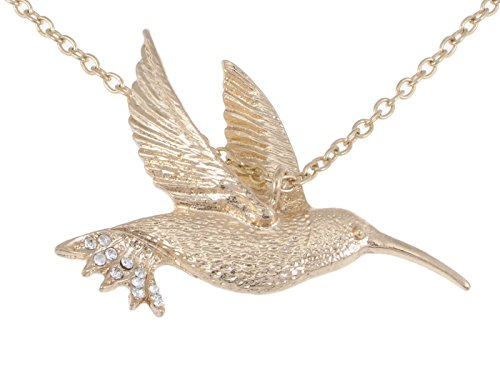 Alilang Womens Soft Golden Tone Clear Rhinestones Hummingbird Bird Pendant Necklace