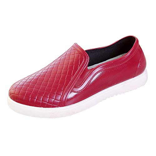 Scurtain PVC Rain Boots Female Casual Shallow Mouth Anti-Frozen Shoes Red 9 M US