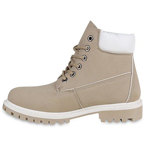 Stiefelparadies Damen Herren Unisex Worker Boots mit Blockabsatz Profilsohle Flandell Creme Weiss Brooklyn