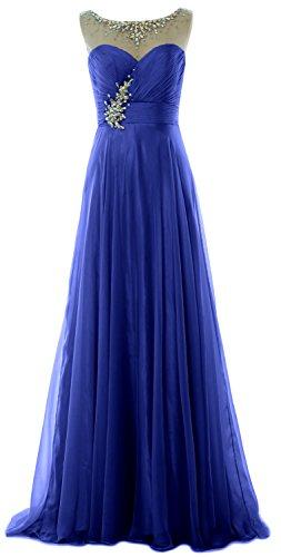 Blue Prom Elegant Formal Wedding Long MACloth Royal Chiffon Illusion Party Dress Gown PEq8Apd