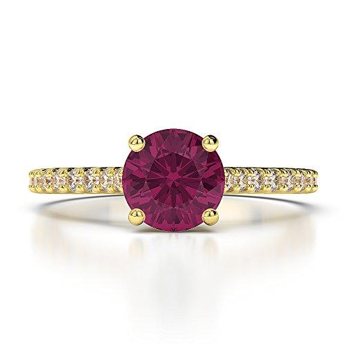 Or jaune 18carats 1CT G-H/VS sertie de diamants ronds Cut Rubis et bague de fiançailles Agdr-1213