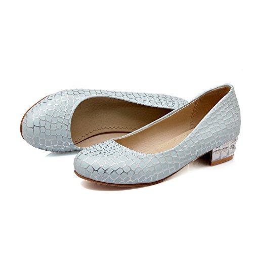 Allhqfashion Dames Lage Hakken Assorti Kleurentrekkracht Op Zacht Materiaal Ronde Teen Pumps-schoenen Blauw