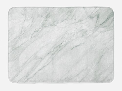 Ambesonne Marble Bath Mat, Stained Marbled Background Image Abstract Textures Monochromatic Design Print, Plush Bathroom Decor Mat with Non Slip Backing, 29.5 W X 17.5 L Inches, White Pale Grey