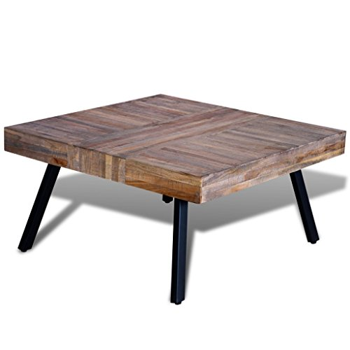Festnight Solid Square Coffee Side Table, Reclaimed Wood (Square Coffee Reclaimed Wood Table)