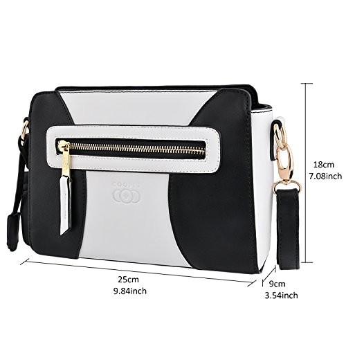 Bag Small Satchel Bag Women Leather Bag White Handbag with amp; Shoulder Strap Black Purse Adjustable for and White Body Cross COOFIT Crossbody Handbag Black FwzI88