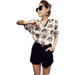 "Only Faith Women Fashion Summer Print Small Sleeve T Shirt Blouses Tops (XL(chest: 40.94""), cat head-white)"