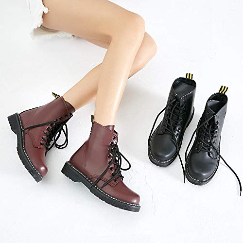 LIANGXIE Stiefeletten Runde Frauen Leder up Frauen Stiefel Lace Für Lase Mode Damen Toe up Warme Fashion Booties Schwarz Kampf Schuhe Martens Stiefel 4Xr4wq5x