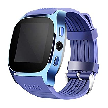 Aaliyah New T8 Smart Watches Support SIM &TF Card With Camera Sync Call Message Men Women Smartwatch Bluetooth Watch For Android (Blue)