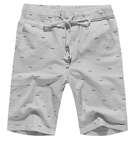 Boisouey Men's Linen Casual Classic Fit Short Gray Fish Bone M