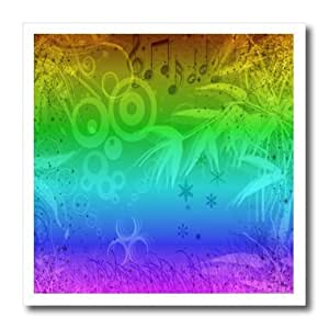 ht_109759_1 Florene The Sixties - Retro Psychedelic Neon Musical Notes - Iron on Heat Transfers - 8x8 Iron on Heat Transfer for White Material