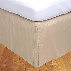Brightlinen Gold Single (90 X 190 Cm) Box Pleated Bedskirt Stripe (drop Length: 34 Cms) 1pcs