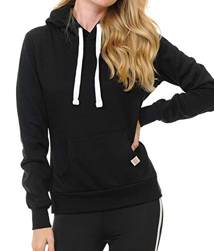Urban Look Womens Active Long Sleeve Fleece Lined Fashion Hoodie Pullover with Plus Sizes (Large, A1 Solid_Black) ()