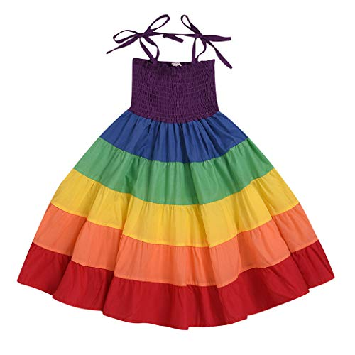 Nargar Little Baby Girls Rainbow Dress,Toddler Princess Summer Sleeveless Halter Beach Twirl Sundress