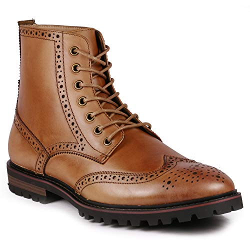 Metrocharm ML-1003 Genuine Leather Men's Lace up Wing Tip Oxford Dress Boots (9, Cognac Brown)