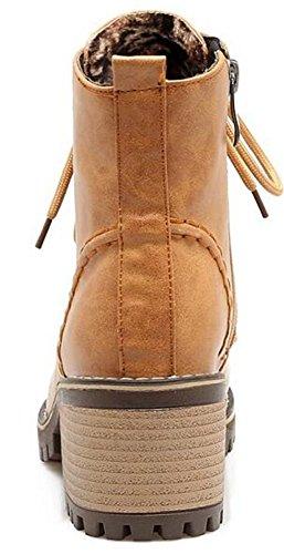 Boots Mofri Block Ankle Short Round Side Vintage Stacked Heel up Brown Zipper Toe Medium Booties Women's Lace rwZnqrIp